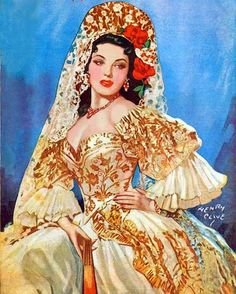 "Carmen by Henry Clive (American 1882 ""Latina-Rosa Style"" A . Latina/Lady that wears a rose or roses; especially a pink or red rose/roses! Rolf Armstrong, Norman Rockwell, Vintage Beauty, Vintage Art, Vintage Pins, Spanish Gypsy, Illustrations Vintage, Frederic Remington, Spanish Woman"