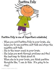When Positive Polly is in our brains, we are able to use positive self-talk to help us calm down. When students are upset, anxious or stressed, we can remind them to put Positive Polly in their brains to help alleviate the negative self-talk. Social Skills Lessons, Social Skills Activities, Teaching Social Skills, Counseling Activities, Social Emotional Learning, Coping Skills, Therapy Activities, Play Therapy, Art Therapy
