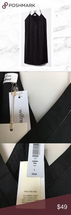 """Wilfred by Aritzia Anaphore Black slip dress Wilfred by Aritzia Anaphore black slip dress in size small. New with tags! Length from arm hole to hem is approximately 27"""". When lying flat, measurement across the chest is about 18"""". Aritzia Dresses"""