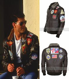 Men's Jackets For Every Occasion. Photo by Menswear Market Jackets are a must-have in the cold weather but it can also be used to accessorize an outfit. Tom Hardy Bane, Tom Cruise, Top Gun Costume, Mens Sweat Suits, Military Fashion, Mens Fashion, Designer Leather Jackets, Denim Jacket Patches, Flight Bomber Jacket
