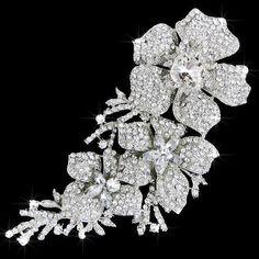 Lg Vintage Inspired Fancy Cuts Crystal Rhinestone Floral Brooch (Sparkle-1722-U)