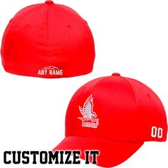 Hartford Hawks Fundamental Personalized Basketball Name & Number Structured Flex Hat - Red - $20.89