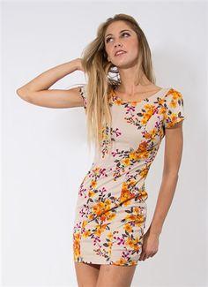 Tan Floral Mini Dress #Tan #TanDress #Creme #Floral #FloralPrint #FloralPrintDress #PatternedDress #MiniDress #Party #Event #Downtown #LosAngeles #Style #Fashion #Wholesale #StylishWholesale #OpenBack