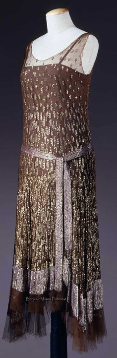 Evening dress ca. 1925-27, with belt. Brown tulle embroidered with gold sequins and pink paillettes. Costume Gallery of the Pitti Palace via Europeana Fashion