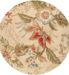 Key West Floral Copper Penny and Pale Jade Round Wool Area Throw Rug from Visual Stylist Copper Penny, Throw Rugs, Key West, Decorative Accessories, Jade, Wool, Floral, Key West Florida, Area Rugs