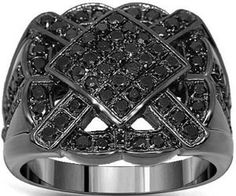 10K Gold Black Rhodium Plated Mens Diamond Ring with Black Diamonds 1.79 Ctw