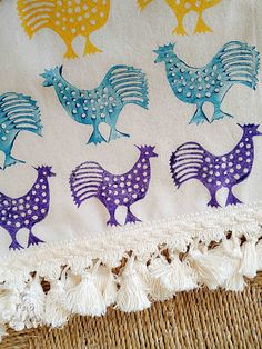 35x120cm Multicolor Hand Block Printed Cream Table Runner Rooster Ethnic Animal Prints Tassels Authentic Traditional Handcrafted Turkish by JIJIMA on Etsy