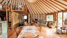 Small Space Living, Tiny Living, Small Spaces, Building A Yurt, Yurt Interior, Interior Ideas, Luxury Yurt, Yurt Home, Tiny House Appliances