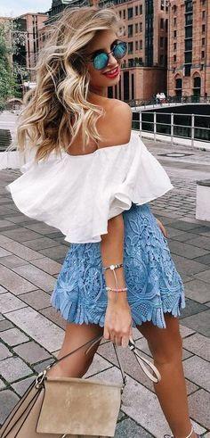 #summer #feminine #style   White Blue