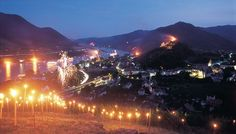 ummer Solstice is celebrated by a multitude of fires and lights, attracting thousands of people, both on the Danube and on land. Austria, Wachau Valley, Summer Solstice, Castle, Journey, Europe, Romantic, Mountains, Landscape