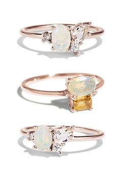 Fiery Opals feel just right for Aries season! Our two collection pieces - the Opal Morganite Cluster Ring and Opal Cluster Ring glow with an ethically sourced Opal. Keep in mind that Opals are more delicate than some stones, so they should be worn with care and removed during heavy work to maintain their integrity and luster. What Opal ring would you choose?