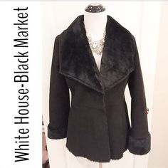 """NWOT-White House-Black Market Plush NEVER WORN Inside is totally lined with faux fur- not cheap, very plush. Sleeves 24"""". Waist 17"""". Total length 28"""". Three hidden snap closures. Soft and high quality. Can be dressed for a wedding up or down for date night. (Shown in the fourth pic is a coat that is very similar like the one I am selling- Showing what a good deal I have! This is from another Poshers closet- just showing a comparison.)First pic is a little overexposed to show details-it is…"""