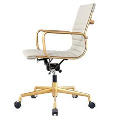 Office Chair In Grey Vegan Leather And Gold | Modern Office Chair by Meelano at Contemporary Modern Furniture  Warehouse - 2