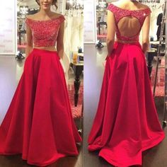 2016 New Arrival Beaded Crystals Prom Dresses Sexy Formal Dresses Two Pieces Party Dress Backless Prom Dresses Custom Made