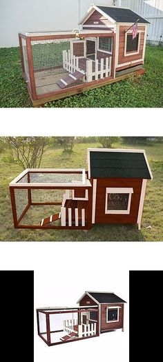 Cages and Enclosure 63108: Chicken Coop Hen House Rabbit Pet Bunny Hutch Cage Nesting Box Fence Poultry Run BUY IT NOW ONLY: $159.99
