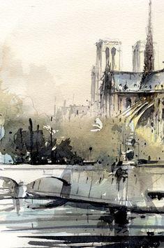 Notre-Dame Cathedral & Ile de la Cité watercolor