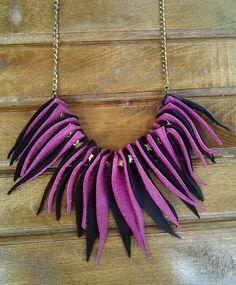 Fuchsia Black Leather Fringe Necklace, Magenta Black Leather Fringe Necklace…