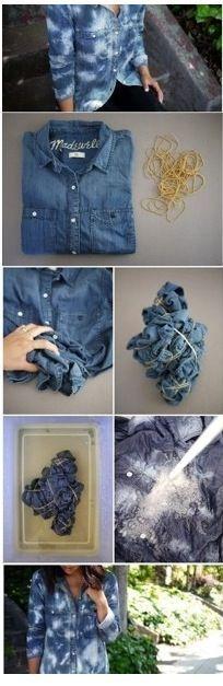 DIY bleached jean shirt I love bleached clothing Shibori, Diy Moda, Tie Dye, Bleached Jeans, How To Dye Fabric, Dyeing Fabric, Diy Shirt, Diy Clothing, Fabric Painting