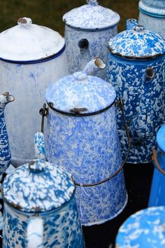 Vintage Blue and White enamelware coffee pots