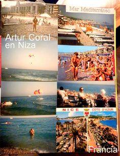 Artur Coral en Niza, Francia. En el mar Mediterráneo. La Cote d'Azur. Album familiar.
