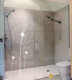 Glass decals for the bathroom Custom Shower Doors, Glass Shower Doors, Glass Bathroom, Glass Door, Glass Partition Designs, Glass Design, Window Decals, Wall Decals, Sticker Vinyl