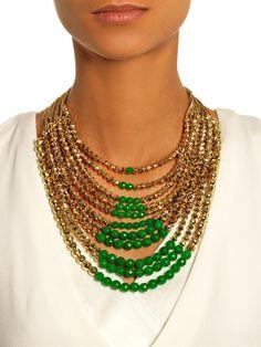 Rosantica по Микела Панеро Раисы нефрита и золота, смоченной ожерелье