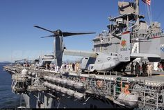 USMC Bell-Boeing MV-22B Osprey  168352 / YZ-00 (cn D0255) USS Boxer LHD-4 underway for The Parade of Ships 2015. Onboard 2 MV-22B Ospreys 1 UH-1Y Venom and 1 AH-1W Super Cobra