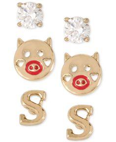 Betsey Johnson Gold-Tone Initial Stud Earrings Set