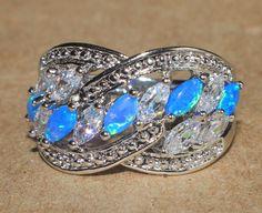 fire opal topaz ring gemstone silver jewelry Sz 9 wedding engagement band MOD1 #Cocktail