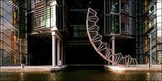 Footbridge designed by Thomas Heatherwick for Northwest London curls up into octahedron rather than angling up in air like ordinary drawbridge; Cantilever Bridge, Pedestrian Bridge, Beam Bridge, Glass Bridge, Thomas Heatherwick, New York Times Magazine, Bridge Design, Suspension Bridge, London Bridge