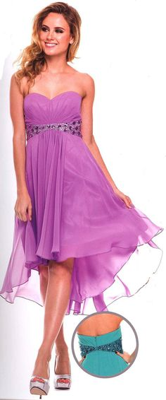 Bridesmaid Dresses<BR>Evening Dresses under $100<BR>726<BR>High low short dress, sweetheart neckline, gathered bodice, waist of stones and bead work.