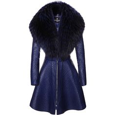 J. Mendel Trapunto Stitched Coat With Fur Collar ($18,000) ❤ liked on Polyvore featuring outerwear, coats, blue slip, full skirts, a-line coat, a line slip and full a line skirt