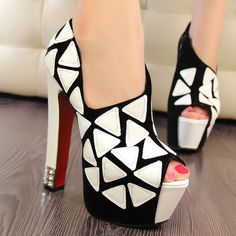 Sexy Color Matching and High Heel Design Peep Toed Shoes At Price 25.38 - DressLily.com