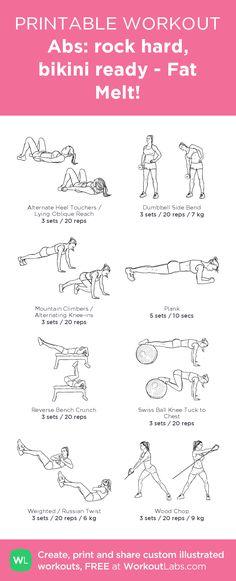 Abs: rock hard, bikini ready - Fat Melt!– my custom exercise plan created at WorkoutLabs.com • Click through to download as a printable workout PDF #customworkout
