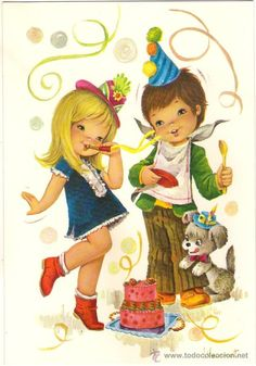 57191 postal dibujo niños bailando en cumpleañ - Comprar Dibujos y ...