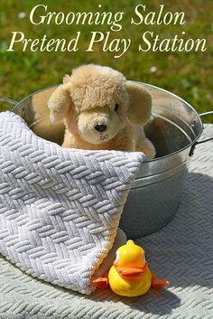 Creative pretend play idea! Make a pet grooming salon.