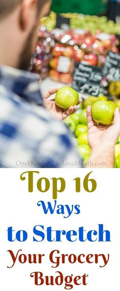 Top 16 Ways to Stretch Your Grocery Budget Even though I try and share money saving tips often here on One Hundred Dollars a Month I thought I would reiterate a couple of my top money-saving techniques when I hit the stores. Next to most people's' housing Eat On A Budget, Budget Meal Planning, Budgeting Tools, Budgeting Finances, Frugal Meals, Frugal Tips, Cheap Meals, Money Tips, Money Saving Tips