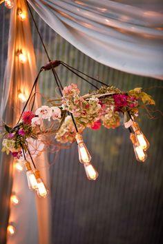 Wedding Style // Flower Chandeliers   Coastal Bride