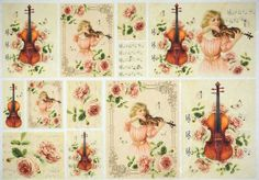 Rice Paper for Decoupage Decopatch Scrapbook Craft Sheet Vintage Violin Lessons
