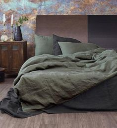 Linen Duvet Cover in Moss Green in Queen, King sizes Green Duvet Cover Green Comforter, Blue Duvet, Burnt Orange Comforter, King Comforter, Comforter Sets, Beige Bed Linen, Linen Duvet, Green Bed Linen, Luxury Duvet Covers