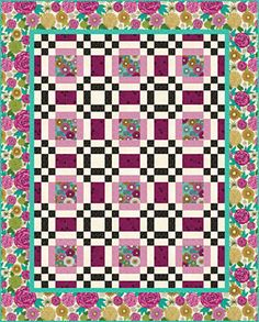 Easy Quilt Kit Montecito Picnic In The Park Quilt Kit Pink Floral Scrappy Quilts, Easy Quilts, Bed Quilts, Patch Quilt, Quilt Blocks, Easy Quilt Patterns, Quilting For Beginners, Quilt Sizes, Square Quilt