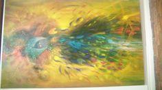 Baño con hojas del árbol del arcoíris. Óleo sobre lienzo.   200 x 132 cm.  2008 - 2013.