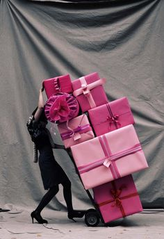Pink wrapping in all shades and sizes.