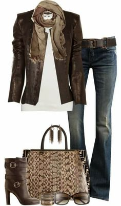 Dark jacket, scarf, white blouse, jeans, handbag and matching high heel boots for fall