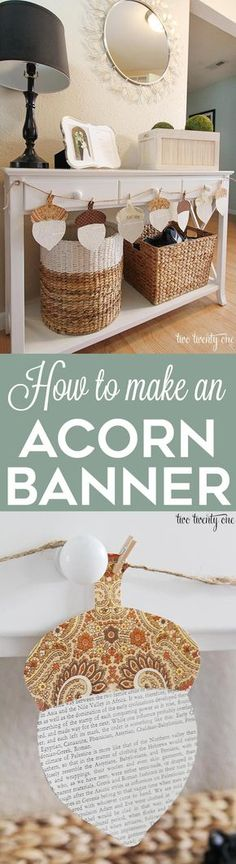How to make an acorn banner! The perfect fall and Thanksgiving DIY decor project. This acorn banner is easy to make and budget-friendly! #ad
