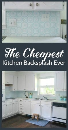 This super cheap backsplash looks amazing! Who knew a painted backsplash could look so good!