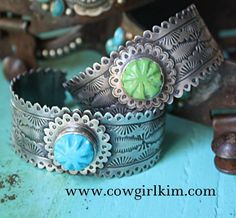VINTAGE REVIVAL TOOLED STERLING CUFF BRACELET WITH TURQUOISE ROSETTE - Cowgirl Kim