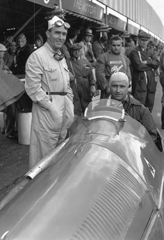 Juan Fangio and Giuseppe Farina at the International Trophy race at Silverstone, August 24, 1950