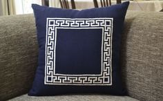 This Greek Key pillow cover has navy blue linen pillow with ivory thread embroidery. This navy and ivory embroidered cushion lends a classic and luxurious charm to any home decor. It also makes a great gift for birthday, wedding, wedding anniversary, engagement, Christmas, housewarming, hostess, wedding shower. These luxury pillows will make a statement in bedroom, entryway, living room decor.