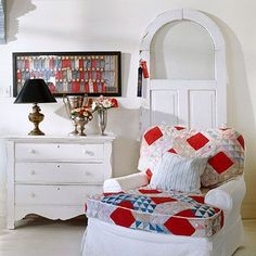 Using Quilts to Decorate | ... arrangements to vintage trophies use an old quilt to top an easy chair